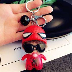 Móc khóa monchichi spider man chuông mini giá sỉ
