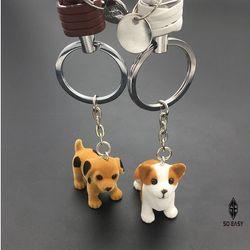 Combo 2 Móc treo chìa khóa CÚN CON dễ thương nhựa lông mềm cặp đôi nam-nữ cho ô tô xe hơi xe tải túi xách cặp OTP005 giá sỉ