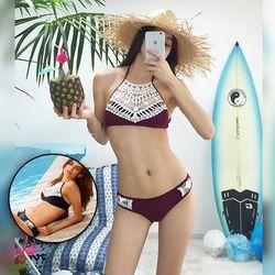 Bộ đồ bơi Bikini phối ren trắng - ms 18607 giá sỉ