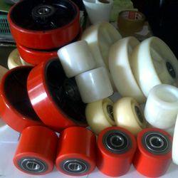 Bánh xe nâng tay PU 80x70mm - bánh xe PU đỏ giá sỉ