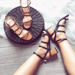 giày sandal got vuông cao quai mảnh giá sỉ