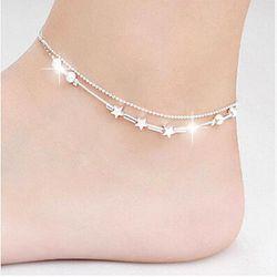 Lắc chân bạc nữ rẽ đẹp cực độc đáo hình sao giá sỉ
