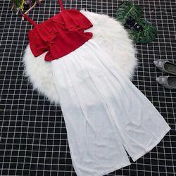 bộ áo 2 dây bèoquần voan trắng ống rộng giá sỉ