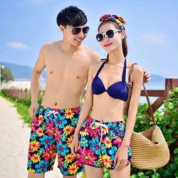 Bộ 2 quần nam nữ đi biển hoa sắc màu - ms 18679 giá sỉ