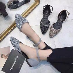 Giày búp bê mũi nhọn đính đá da mềm k1 giá sỉ