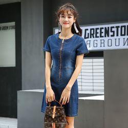 Đầm jean dây kéo trướcphối túi giá sỉ