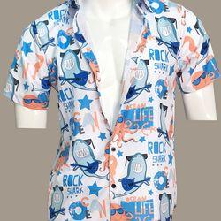 Áo sơ mi nam tay ngắn in hình Rock Shark - C0802 giá sỉ, giá bán buôn