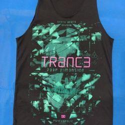 Áo thun 3 lỗ in 3D Thái Lan chữ Trance hồng trên hình đầu lâu xanh lá cây đậm TKT0011 giá sỉ
