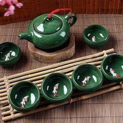 Bộ ấm trà 3d hình cá xanh ngọc giá sỉ