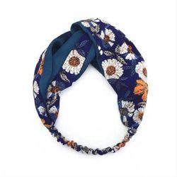 Khăn turban hoa xanh đen giá sỉ
