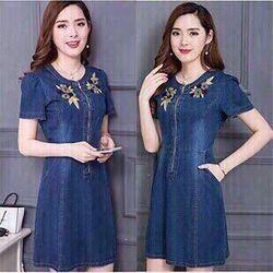 Đầm jean thêu giá sỉ