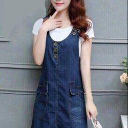 Đầm jean 2 dây phối túi giá sỉ