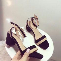 Giày sandal cao gót bảng 2 màu-si lộn giá sỉ
