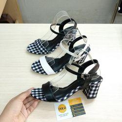 Giày sandal cao gót sọc caro giá sỉ