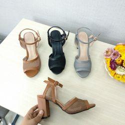 Giày sandal cao gót bảng eo lưới viền giá sỉ