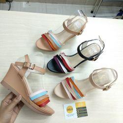 Giày sandal xuồng 7cm dây vuốt nhiều màu