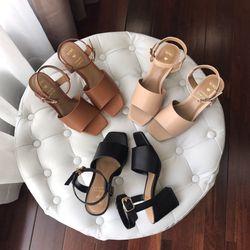 Giày sandal cao gót 5cm bảng ngang lớn mũi vuông giá sỉ