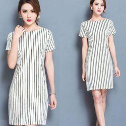 Đầm suông trắng sọc đứng