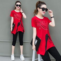 Set bộ lửng đỏ cô gái form dài áo cách điệu giá sỉ