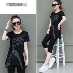 Set bộ lửng đen cô gái form dài áo cách điệu giá sỉ