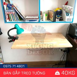 Bàn gấp treo tường loại nhỏ 40x80cm gỗ tự nhiên chịu lực 40kg giá sỉ