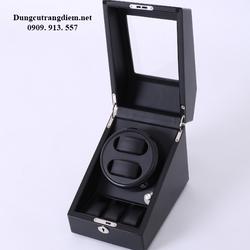 Hộp đựng đồng hồ cơ gỗ 2 xoay 3 trưng bày đen giá sỉ