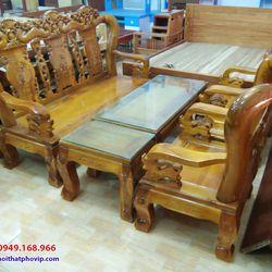 Bàn ghế phòng khách gỗ Tràm mẫu SLT497 giá sỉ
