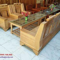 Bàn ghế phòng khách gỗ Sồi mẫu SLS083 giá sỉ