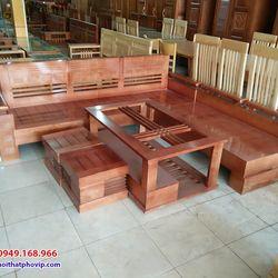 Bàn ghế phòng khách gỗ Sồi mẫu SLS079 giá sỉ
