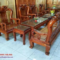Bàn ghế phòng khách gỗ Hương mẫu SLH086 giá sỉ