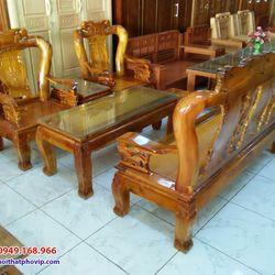 Bàn ghế phòng khách gỗ Tràm mẫu SLT067 giá sỉ
