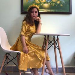 Áo dài bưng quả cách tân vàng giá sỉ