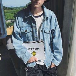 Áo khoát jean nam xanh nhạt giá sỉ