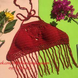 bikini len móc đỏ tua rua giá sỉ
