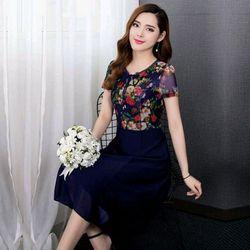 Đầm xòe chiffon xanh in hoa 3D phối ren cột nơ giá sỉ