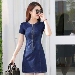 Đầm jean suông cổ tròn dây kéo trước giá sỉ