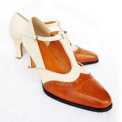 Giày Da Thật Nữ Cao Gót Mẫu giày mới T-strap 2018 DECUS Màu Vàng Be giá sỉ