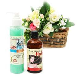 cặp dầu gội bưởi và tinh dầu bưởi kích thích mọc tóc