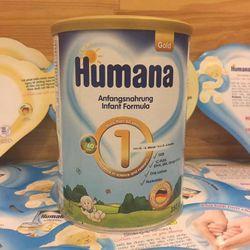 Sữa bột Humana Gold số 1 hoặc 2 hoặc 3 cho bé từ sơ siinh đến 9 tuổi tuổi loại 800g giá sỉ