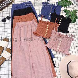 Set áo nhíu thun Quần dài culotte ống rộng thoải mái giá sỉ