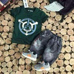 Set áo jean lửng bé trai giá sỉ