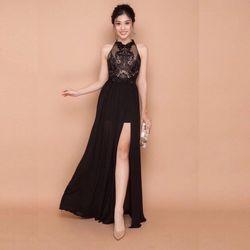 Đầm maxi dự tiệc cổ yếm màu đen siêu xinh SD1265 giá sỉ