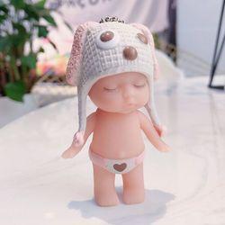 móc khóa bé ngủ đứng nón len quần tim scoopy hồng phấn giá sỉ