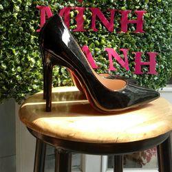 giày cao gót đen bóng 11p giá sỉ