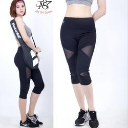 Quần legging lửng thể thao nữ phối lưới -QL3 giá sỉ