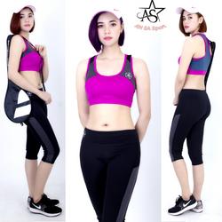Bộ thể thao lửng nữ phối lưới áo bra-DL7101 giá sỉ