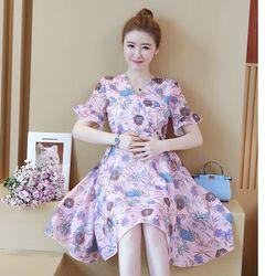 Đầm bầu voan tím in hoa 2 lớp giá sỉ