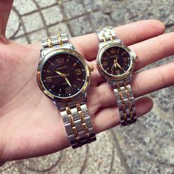 Đồng hồ kim loại xi vàng cặp giá sỉ