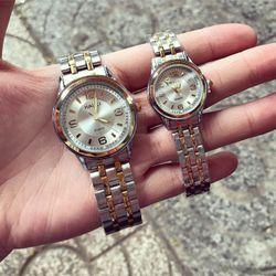 Đồng hồ kim loại xi vàng cặp giá sỉ, giá bán buôn