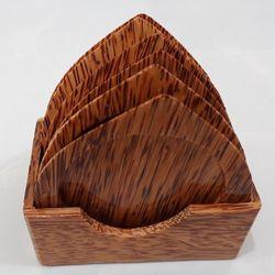 Bộ đế lót ly hình chiếc lá bằng gỗ dừa mỹ nghệ giá sỉ